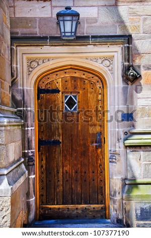 Yale University Doorway, Old Wooden Door, New Haven Connecticut - stock photo