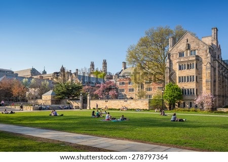 Yale University, New Haven - April 4: Yale University campus on April 4, 2015. It is a private Ivy League research university in New Haven, Connecticut. Founded in 1701 - stock photo