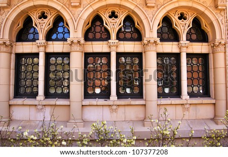 Yale University Ornate Victorian Windows Reflection, New Haven Connecticut - stock photo