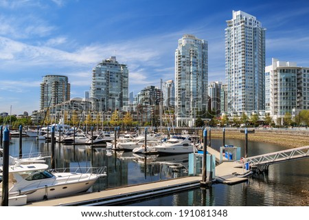 Yaletown residential buildings in Vancouver, British Columbia, Canada. - stock photo