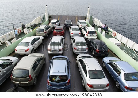 YALOVA, TURKEY - JUNE 10 2014: Car & passenger ferry. Every day Istanbul - Yalova car and passenger ferries, offers quick access to the people.