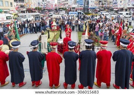 Yalova, Turkey - June 3 2015: Traditional Ottoman army band playing marches before the pre-election meeting of Ahmet Davutoglu (AKP) in Yalova on June 3.