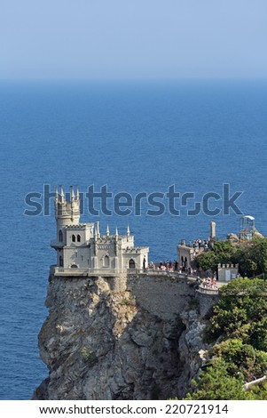 YALTA, REPUBLIC OF CRIMEA, RUSSIA - AUG 16, 2014: Swallow's Nest is a decorative castle the monument of architecture and history, the main attraction on the shores of the Black sea of the city Yalta