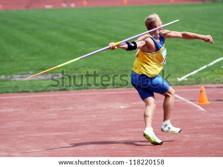 YALTA, UKRAINE - JUNE 01: Kushniruk Yri wins javelin on Ukrainian Track & Field Championships on June 01, 2012 in Yalta, Ukraine. - stock photo