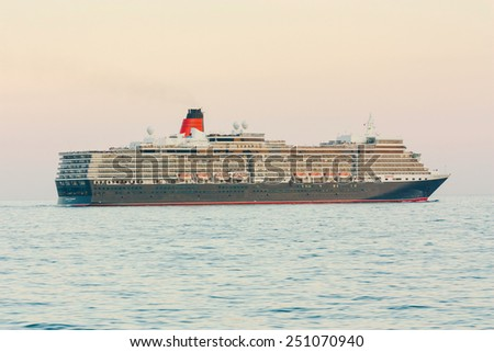 YALTA, UKRAINE - OCTOBER 7: Cunard liner Queen Elizabeth arrived in the seaport city of Yalta on October 7, 2012 in Yalta, Ukraine.