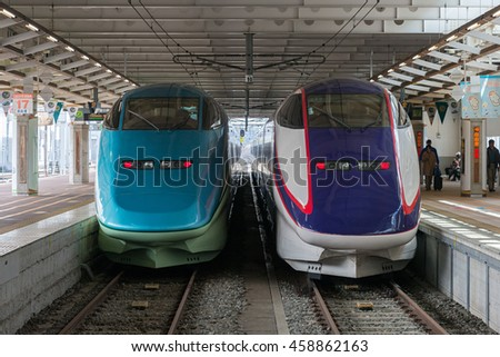 YAMAGATA,JAPAN - APRIL 17,2016:Toreiyu Tsubasa, The first ever sightseeing high-speed train (Left) and ordinary Shinkansen train (Right). Both trains operated by JR East in Yamagata Shinkansen line.