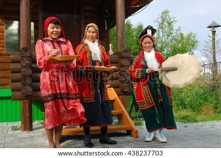 YAMAL, RUSSIA - AUG 27, 2009: Small peoples of the Russian North. Yamal-Nenets Autonomous District. Khanty herder women shown in herders camp museum