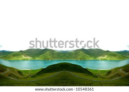 Yamdrok Tso Lake in Tibet - stock photo