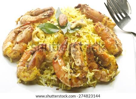 Yammy Shrimp biryani/pulao - stock photo