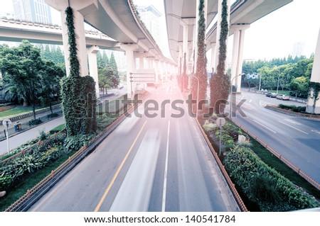 yan an road Viaduct , Shanghai, China - stock photo