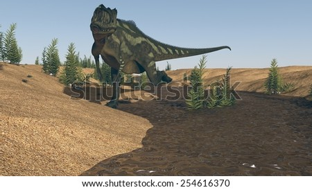 yangchuanosaurus on river bank - stock photo
