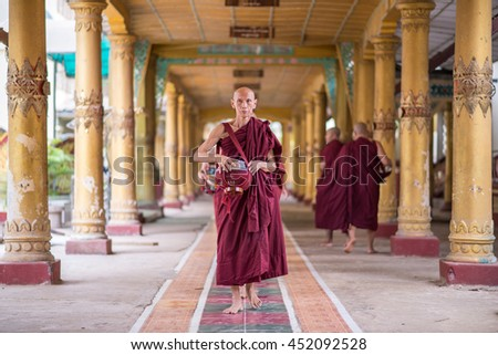 Yangon , Myanmar - APR 12,2014 : Myanmar monk in Temple
