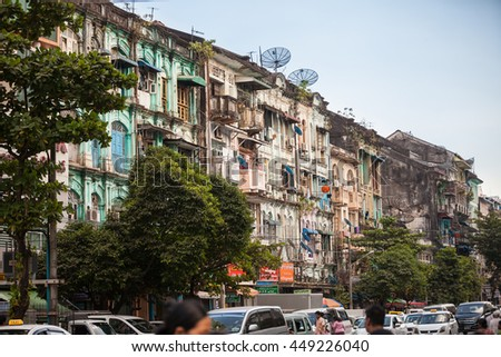 YANGON, MYANMAR - JANUARY 2, 2016: Detail of century-old buildings in Yangon , Myanmar on January 2, 2016