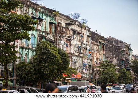 YANGON, MYANMAR - JANUARY 2, 2016: Streets of Yangon , Myanmar on January 2, 2016