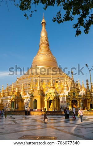 Yangon, Myanmar - 2017, January 7 : The golden stupa of the buddhist Shwedagon Paya, one of the most important buddhist monuments in the world, in the city of Yangon in Burma