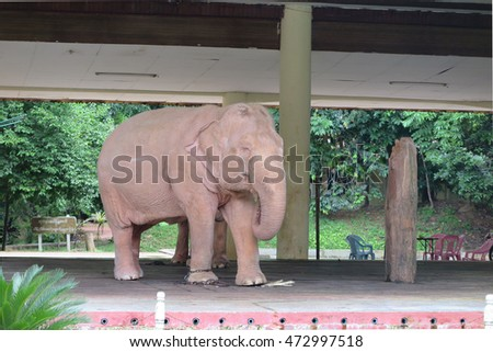YANGON, MYANMAR - JULY 25, 2016 : Royal White Elephant at Hsin Hpyu Daw Park, Insein, Yangon, Myanmar. The white elephants represent peace and weath