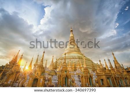 Yangon, Myanmar view of Shwedagon Pagoda at dusk - stock photo