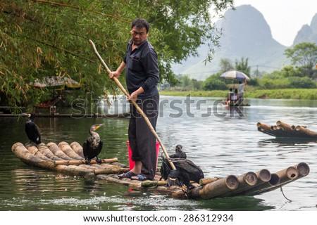 YANGSHUO, CHINA - MAY 01, 2015: Chinese man fishing with cormorants birds in Yulong river in Yangshuo, Guangxi region. Traditional fishing use trained cormorants to fish. - stock photo