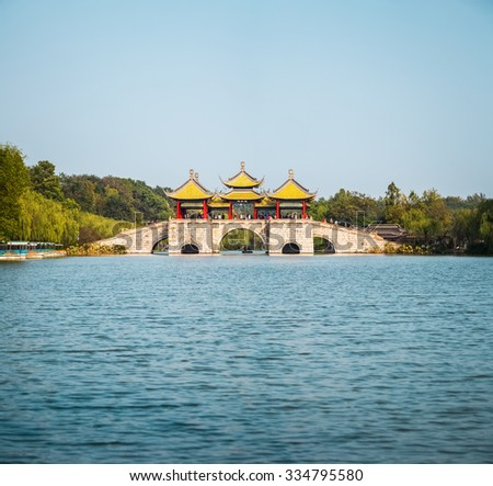 yangzhou five pavilion bridge , the slender west lake is world cultural heritage site and national scenic spot