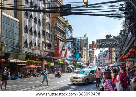 YAOWARAT, BANGKOK, THAILAND -10 JAN, 2016: Traffic In the morning of chinatown Thailand, Yaowarat is a major of gold trading market in Bangkok. on January 10, 2016 in  Bangkok Thailand.