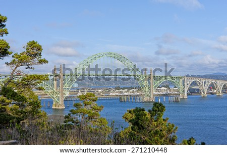 Yaquina Bay Bridge located in Newport, Oregon. - stock photo