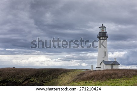 Yaquina bay lighthouse in Newport, Oregon. - stock photo
