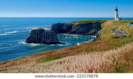 Yaquina head Light House Seascape Panorama, Oregon State USA - stock photo