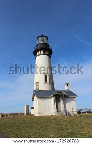 Yaquina Head Lighthouse Oregon Coast on Sunny Day