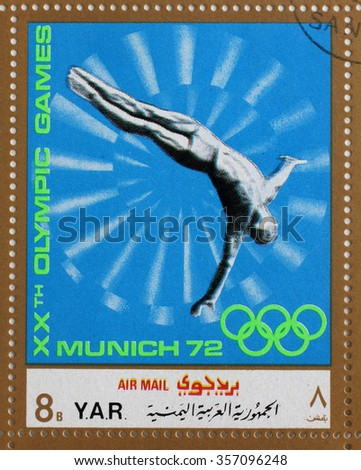 YAR - CIRCA 1972: A stamp printed in Yemen Arab Republic shows jump into the water, Olympics in Munich, circa 1972 - stock photo