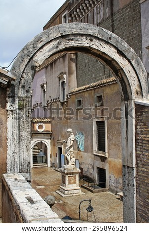 Yard at Castel Sant'Angelo in Rome - stock photo