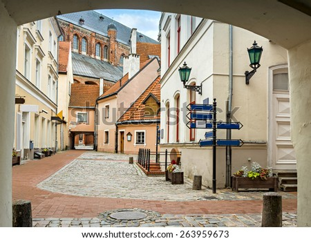Yard of convent in old city of Riga. Riga is the capital and largest city of Latvia, a major commercial, cultural, historical and financial center of the Baltic region