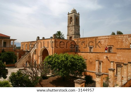 Yard of Monastery Agia Triada, Crete - stock photo