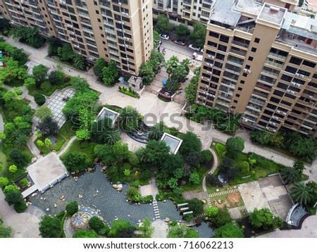Yard Of The Apartment Complex In China With Garden Landscape Architecture And Pond Ganzhou