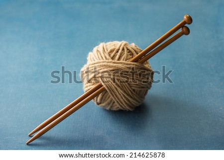 Yarn Ball with Knitting Needles - stock photo