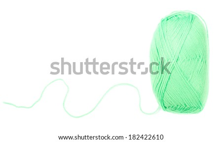 yarn skein of green color on white background