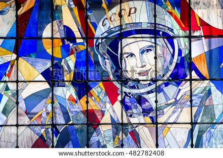 YAROSLAVL, RUSSIA - JUNE 29, 2016: A stained-glass window with a portrait of Valentina Tereshkova in The New Cultural and Educational Center with Planetarium in Yaroslavl.