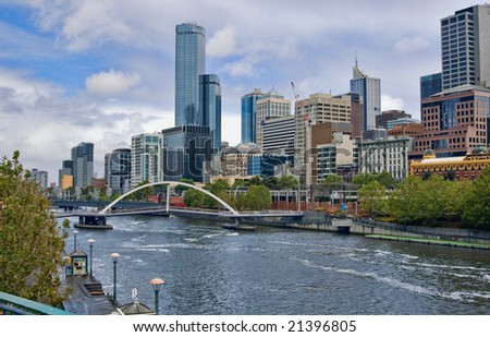 yarra river in the city of  melbourne - stock photo
