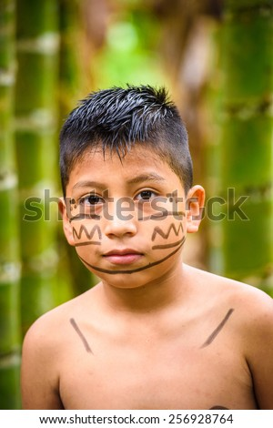 YASUNI, ECUADOR - JAN 4, 2015:  Unidentified Ecuadorian indian little boy. Indigenous indians  are protected by COICA (Coordinator of Indigenous Organizations of the Amazon River Basin) - stock photo