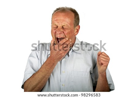 Yawning man on a white background