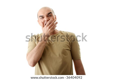 Yawning young man isolated on white - stock photo