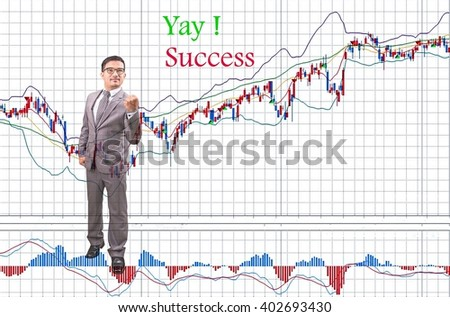 Yay !.. Success - Young businessman, investor, successful style.