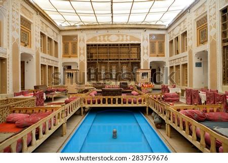 yazd april 17 interior of malek o tojjar hotel in yazd