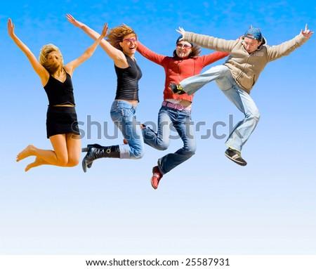 Yeah! Jump! - stock photo
