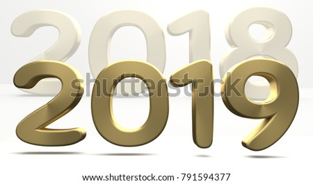 year 2019 and 2018 golden bold numbers 3d render