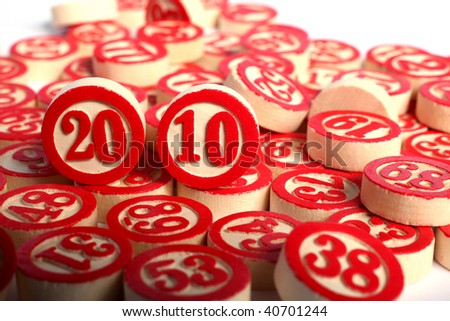 year 2010 - bingo numbers on white background