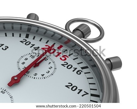 year calendar on stopwatch. Isolated 3D image - stock photo