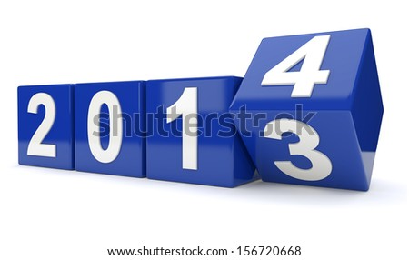 year 2013 changing to 2014 - stock photo
