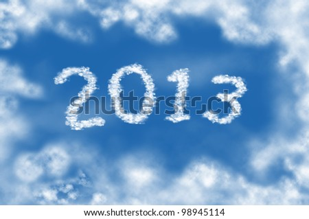Year 2013 cloud and blue sky on sunny day. - stock photo