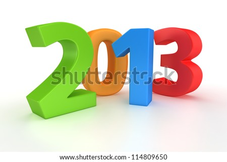 Year 2013 colorful digits on white