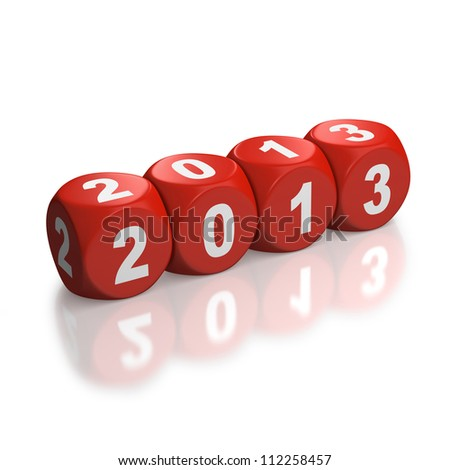 Year 2013 depicted with red dice or cubes in a horizontal line on a white background